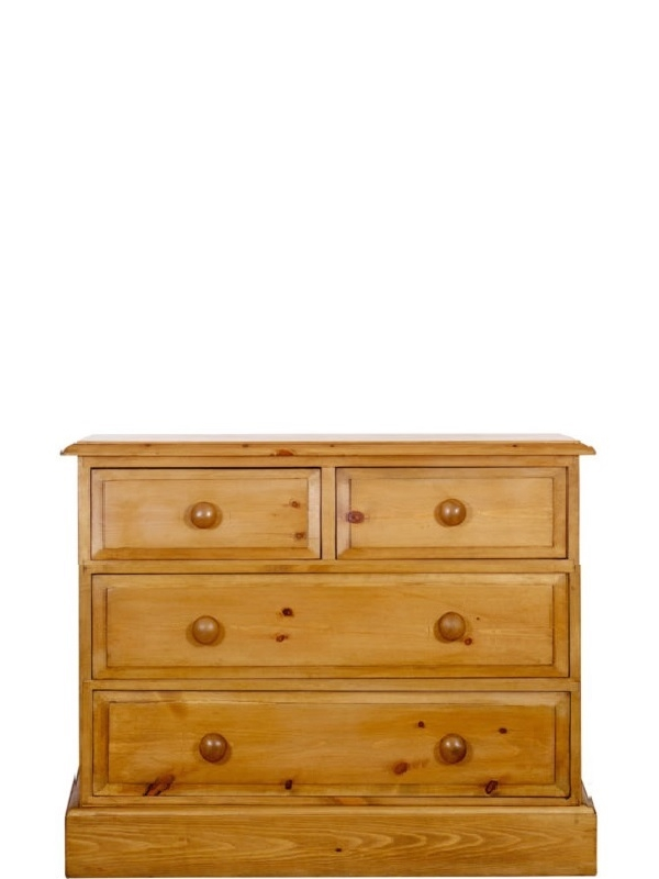 a 2 over 2 pine chest of drawers which is 36 inches long