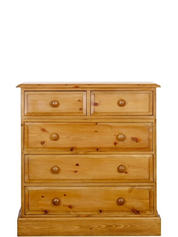 a 2 over 3 pine chest of drawers which is 36 inches long
