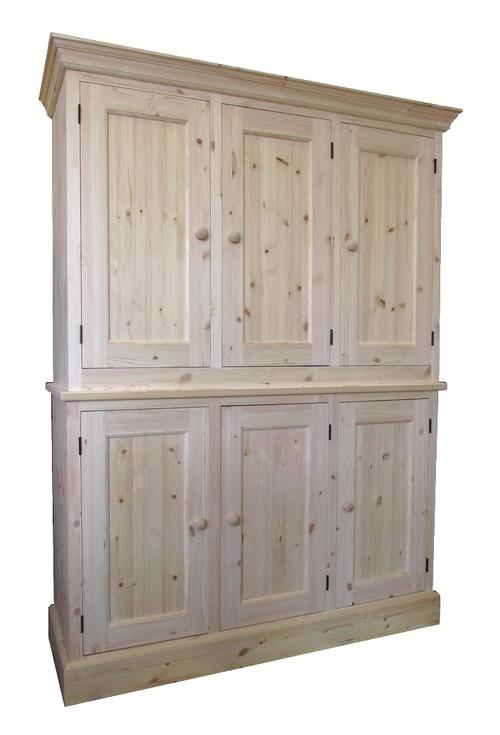 a triple pine larder, unpainted wood.