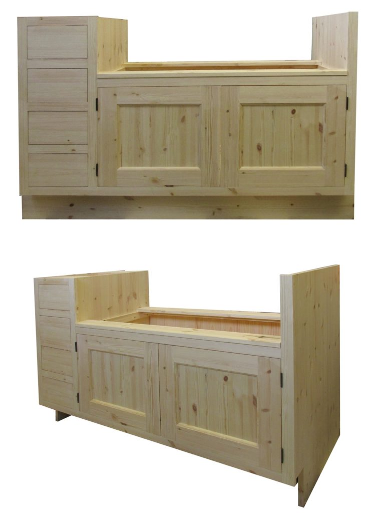 A Belfast sink base for a large belfast sink with drawers on the side