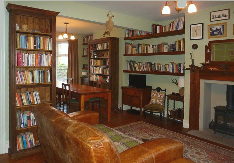 Two pine bookcases and shelves