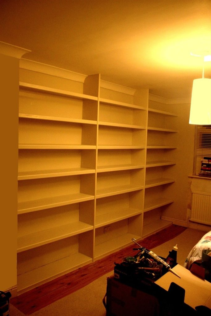 A pine built in bookcase / shelves