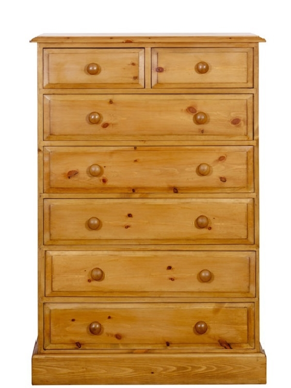 a 2 over 5 pine chest of drawers which is 36 inches long