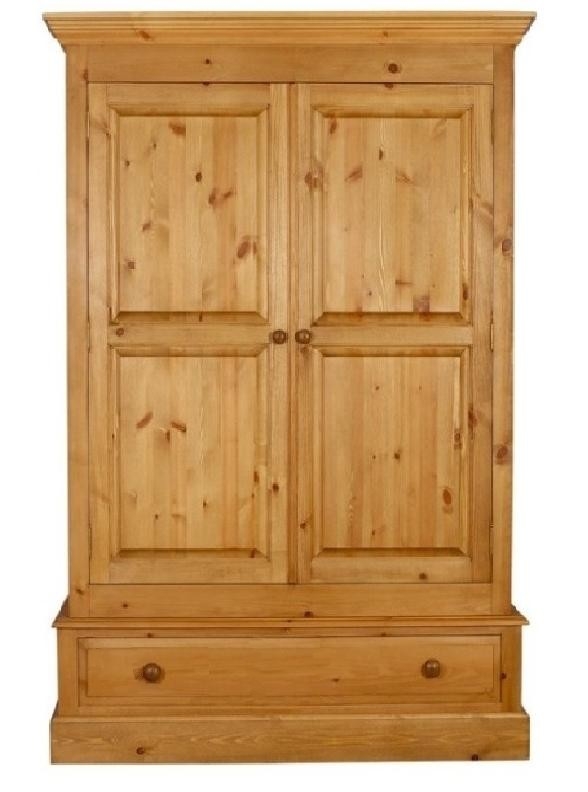 a pine wardrobe on a single drawer  which is 44 inches long