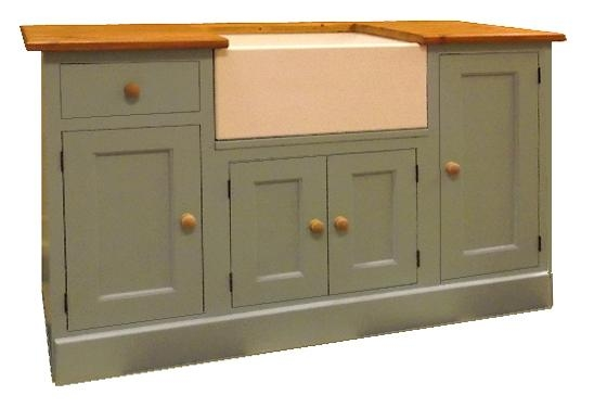 Belfast sink base unit, painted with a wood worktop