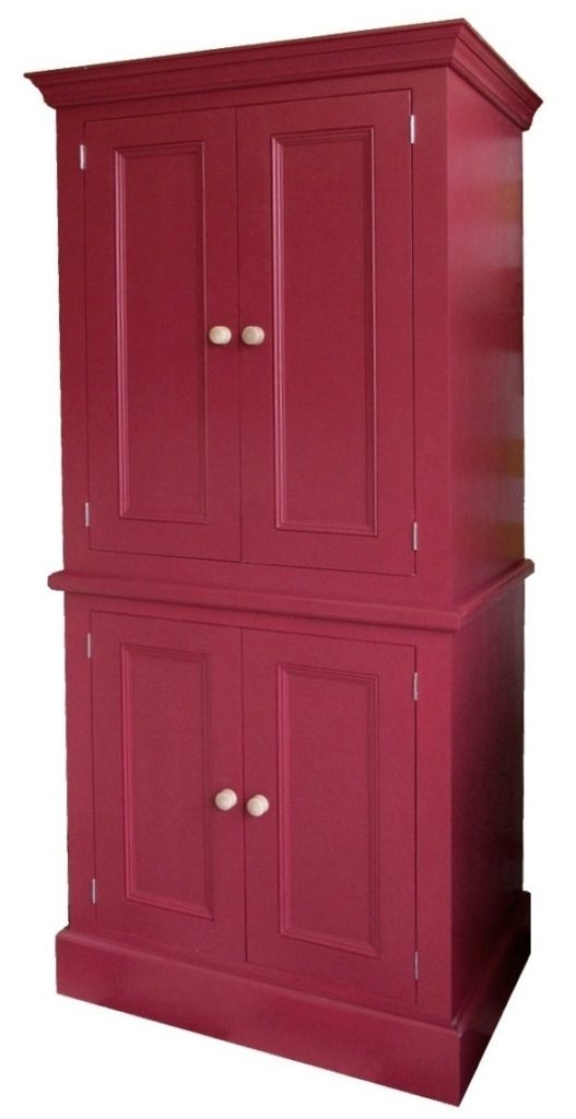 a red painted pine kitchen larder unit