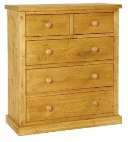 a 2 over 3 pine chest of drawers which is 36 inches long. shaker style.