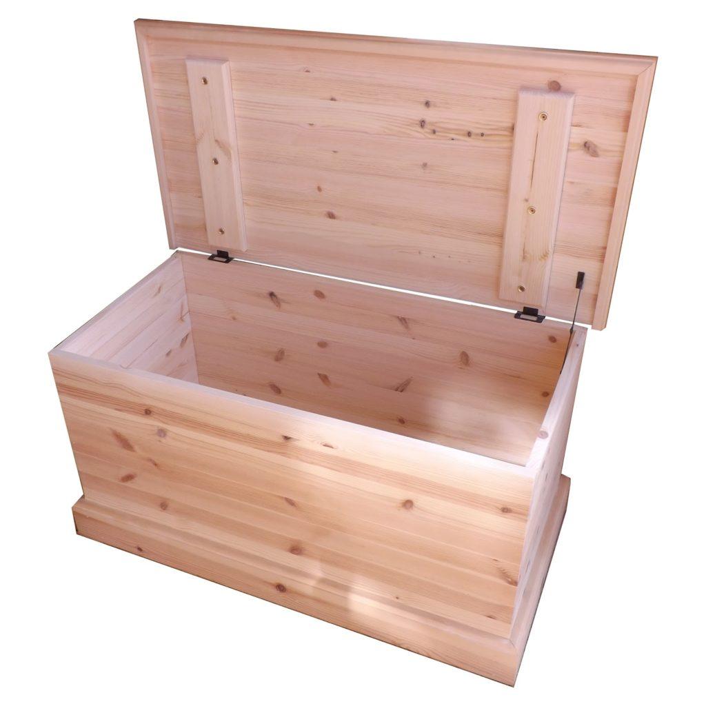 a pine blanket box or ottoman