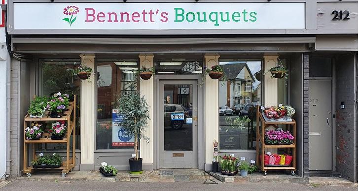 Bennetts bouquets Northampton Kettering road, shopfront
