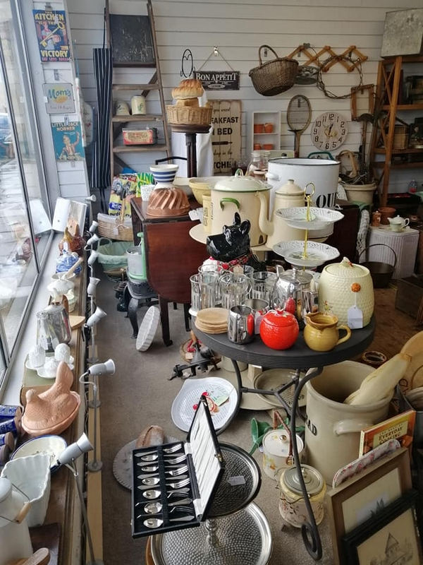 The Old Bakehouse Antique Centre, Northampton. Inside the shop window..